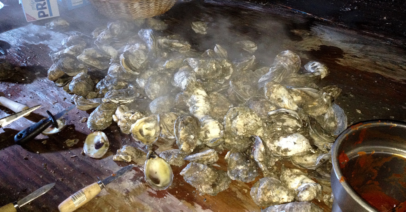 oyster roast at roadside duck